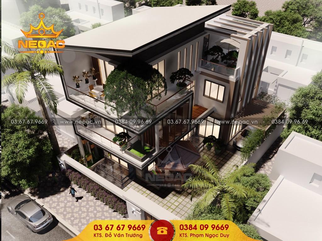 Thiết kế nhà biệt thự phố 3 tầng phong cách hiện đại