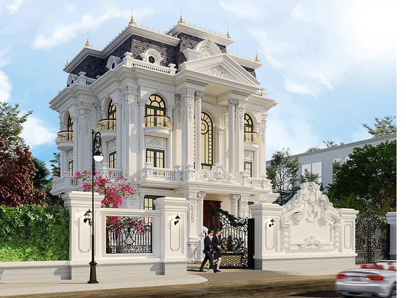 Mẫu thiết kế biệt thự phố 3 tầng phong cách Châu Âu
