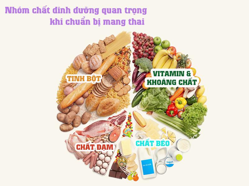 nhóm dinh dưỡng quan trọng chuẩn bị mang thai