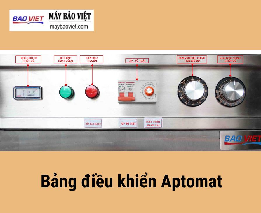Bảng điều khiển Aptomat của tủ nấu cơm công nghiệp Bavico bằng điện