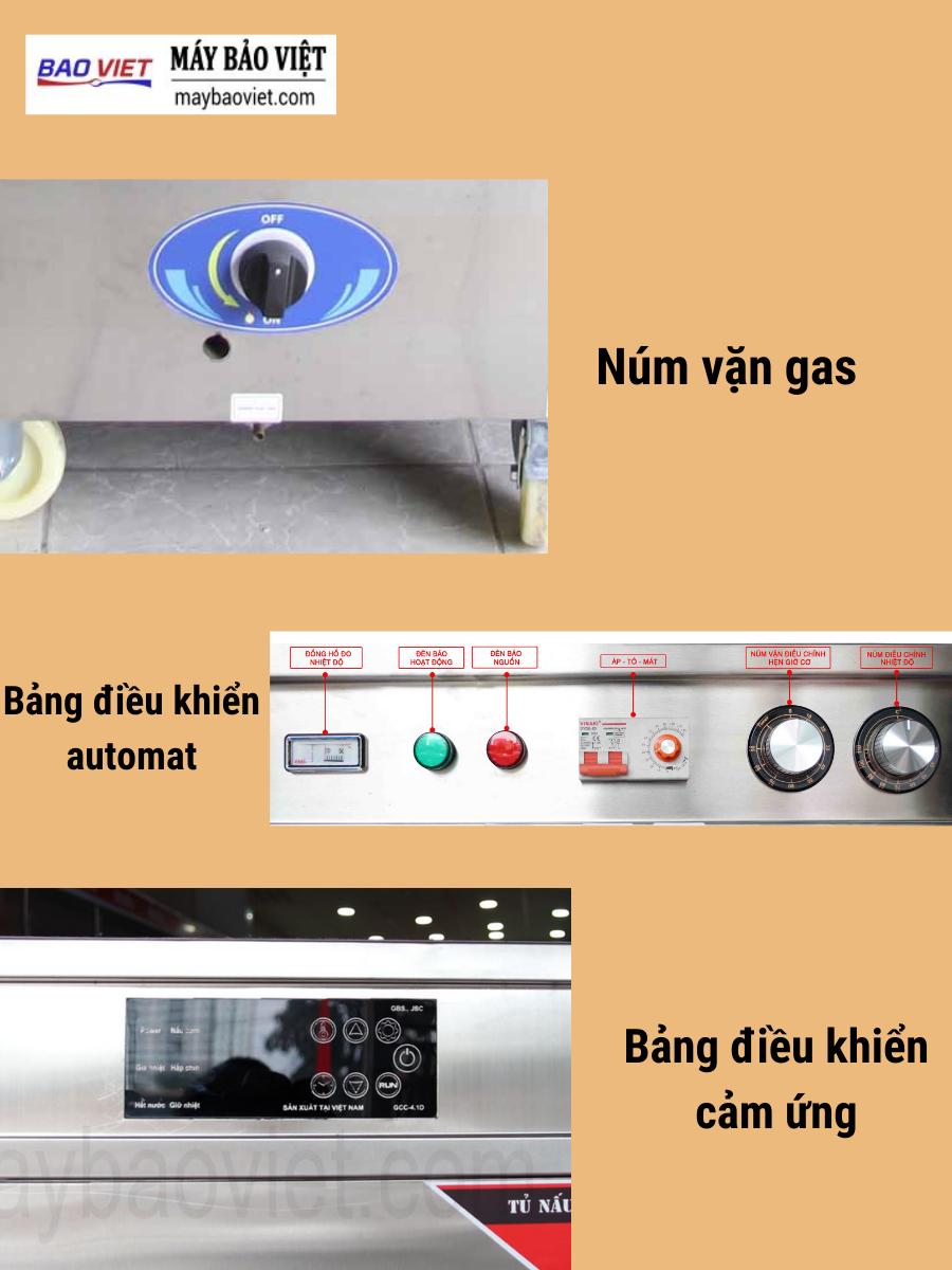 Bảng điều khiển trên tủ nấu cơm công nghiệp Bavico bằng gas điện