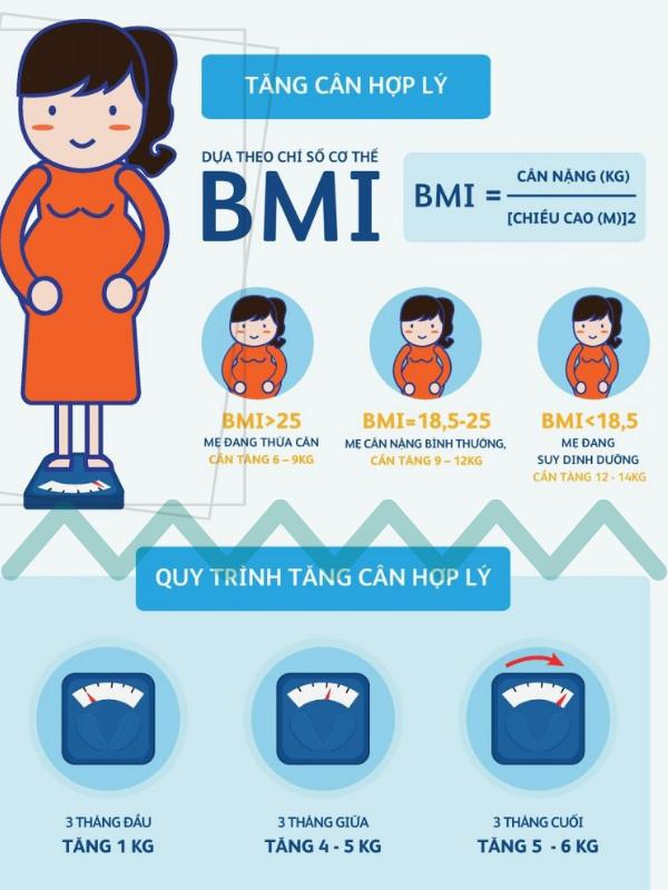 Cách đo chỉ số cơ thể và đối chiếu với bảng tham khảo tăng cân trong thai kỳ, từ đó điều chỉnh dinh dưỡng trước khi mang thai