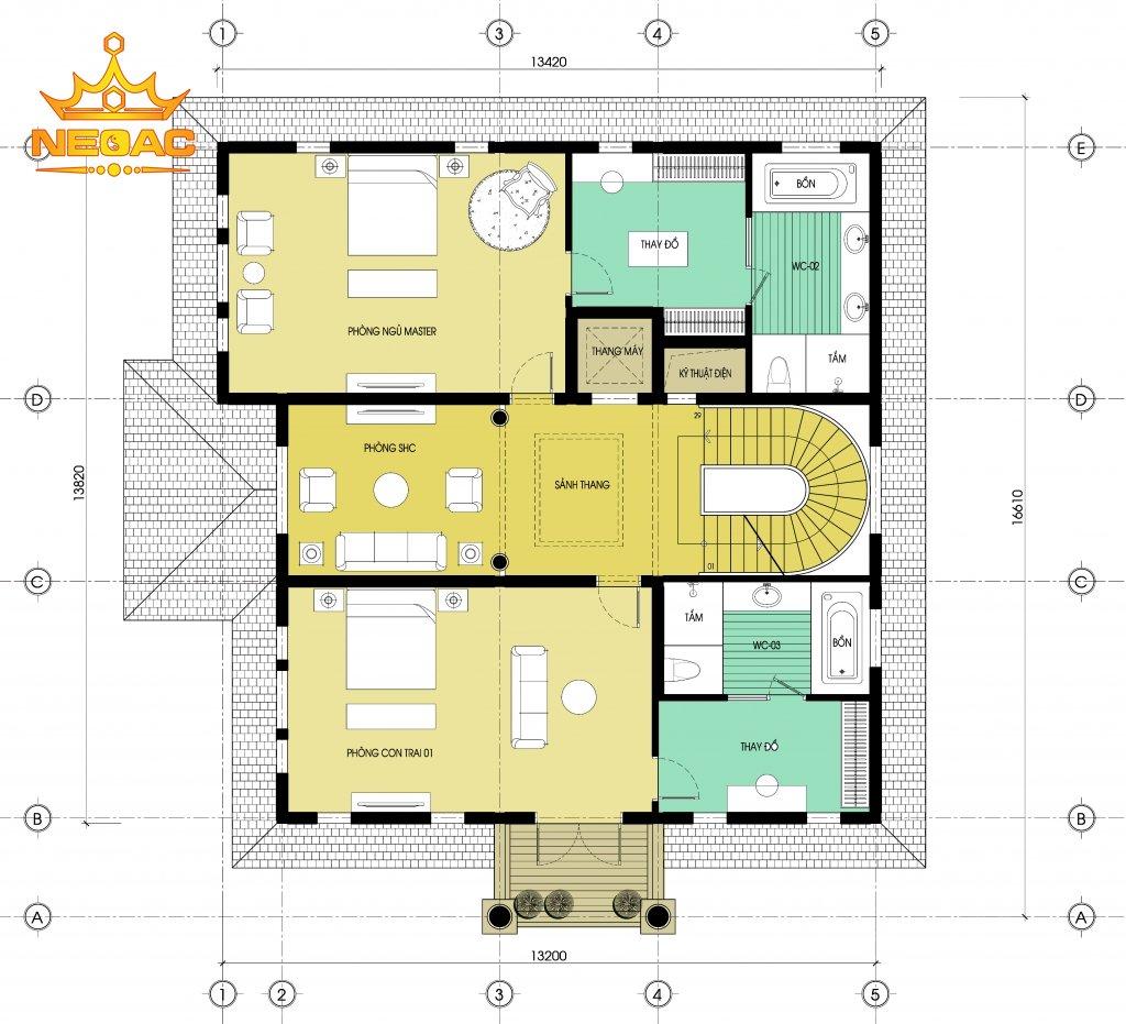 Hồ sơ bản vẽ biệt thự tân cổ điển 3 tầng 175m2