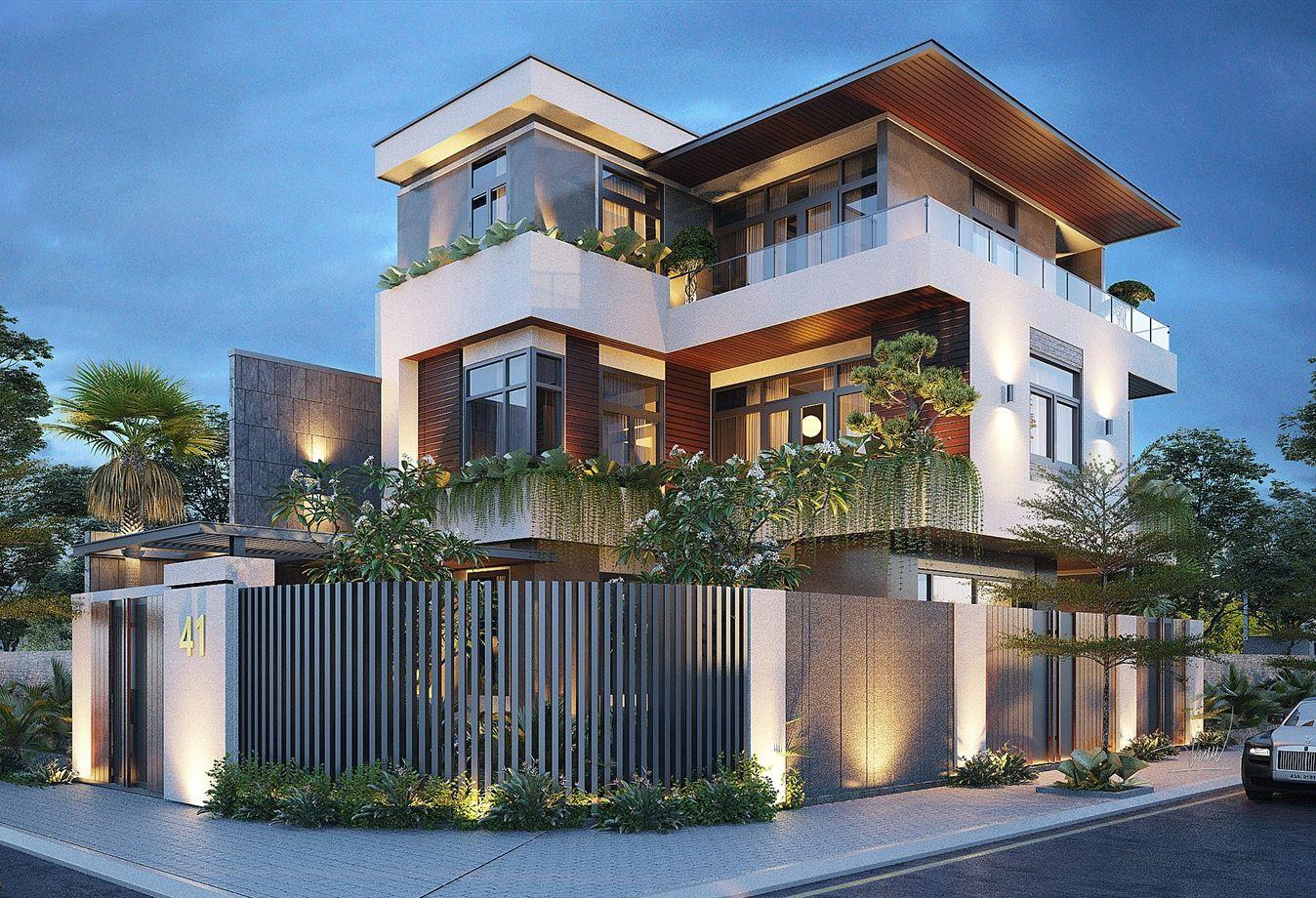 Mẫu thiết kế biệt thự 3 tầng 2 mặt tiền đẹp long lanh