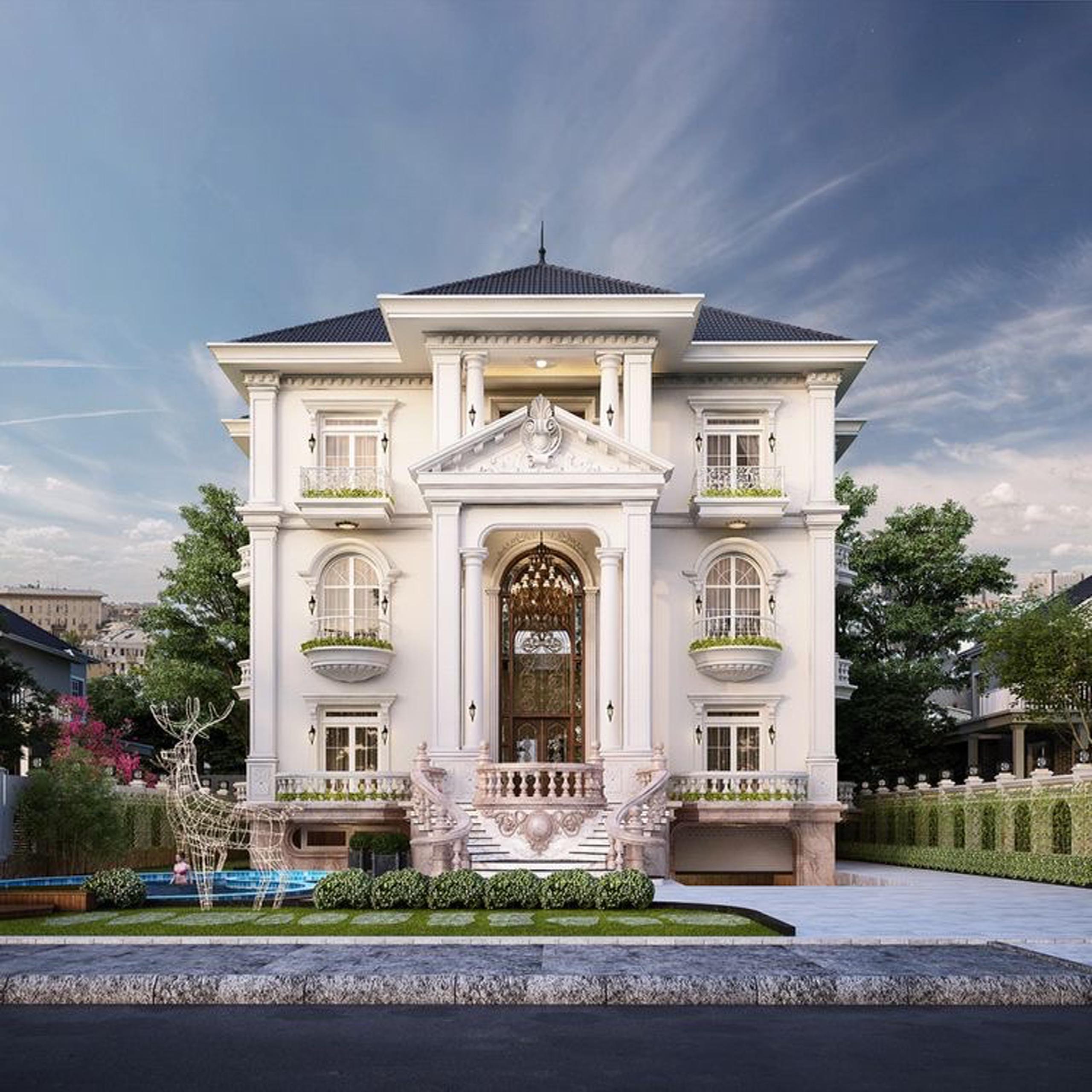 Mẫu Thiết kế biệt thự phố 3 tầng kiểu Pháp