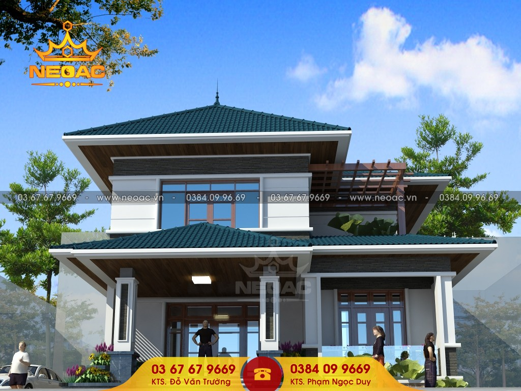 Thiết kế biêt thự mái Thái 140m2