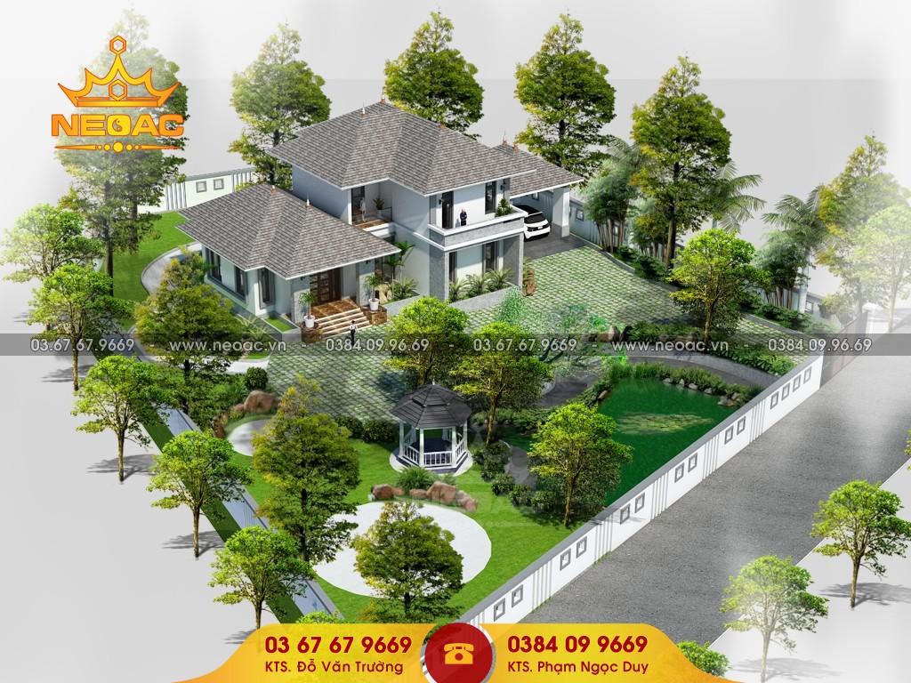 thiết kế biệt thự mái thái 250m2