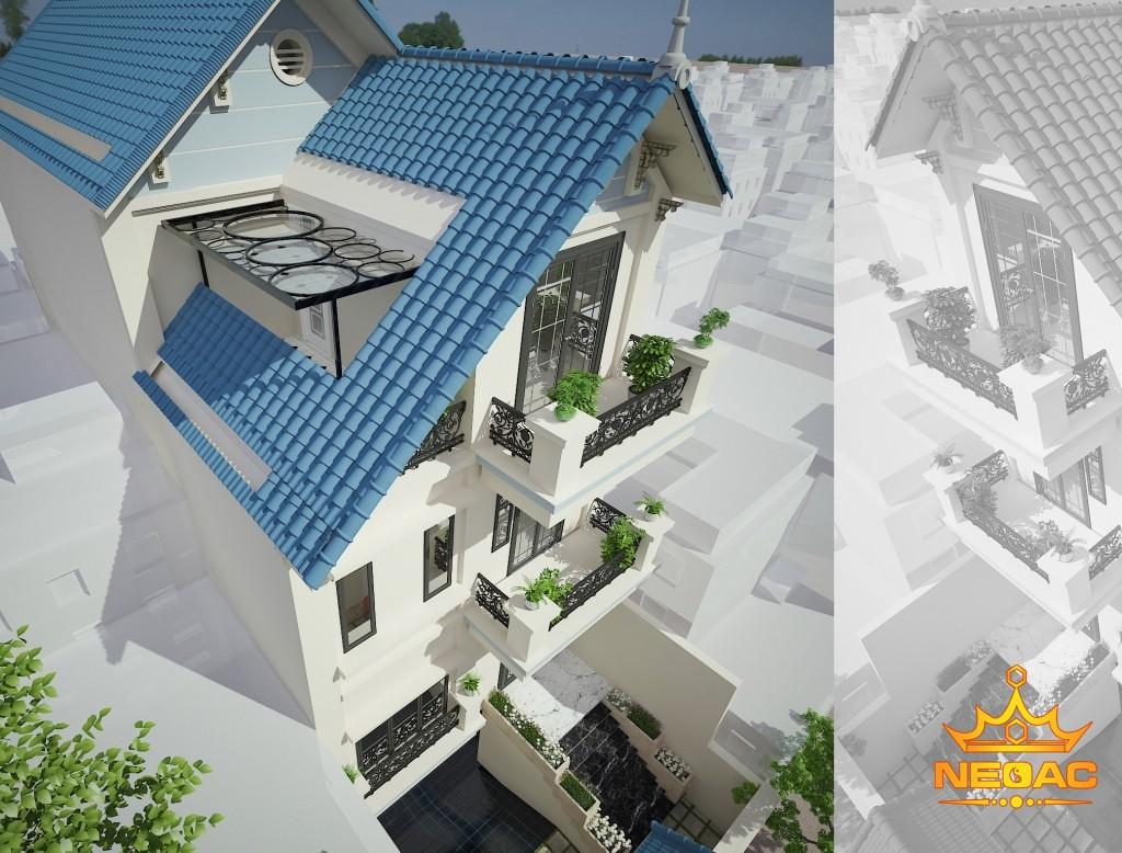 thiết kế biệt thự mái thái 95m2