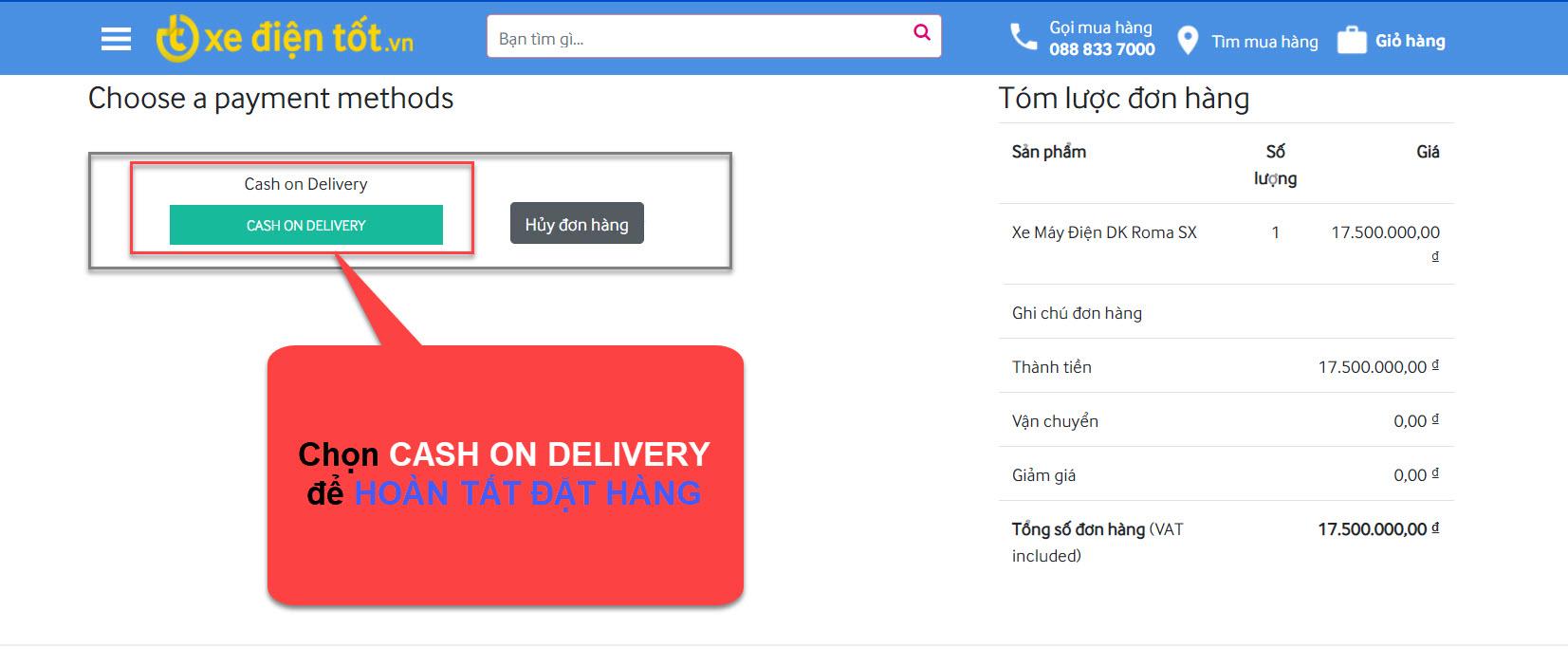 Hoàn tất đặt hàng online