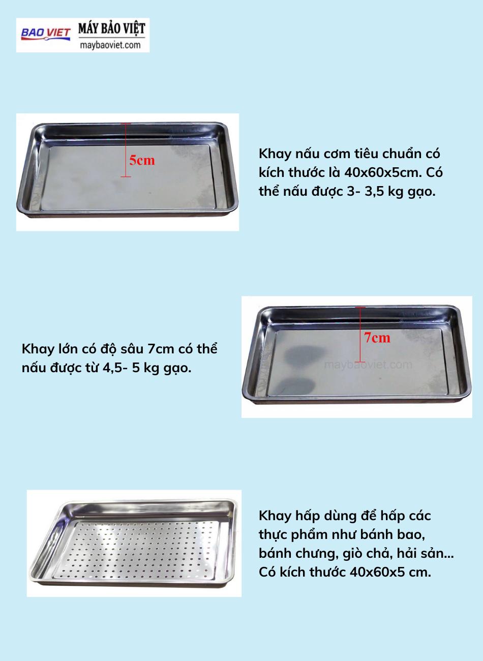 3 loại khay tủ nấu cơm công nghiệp Bavico