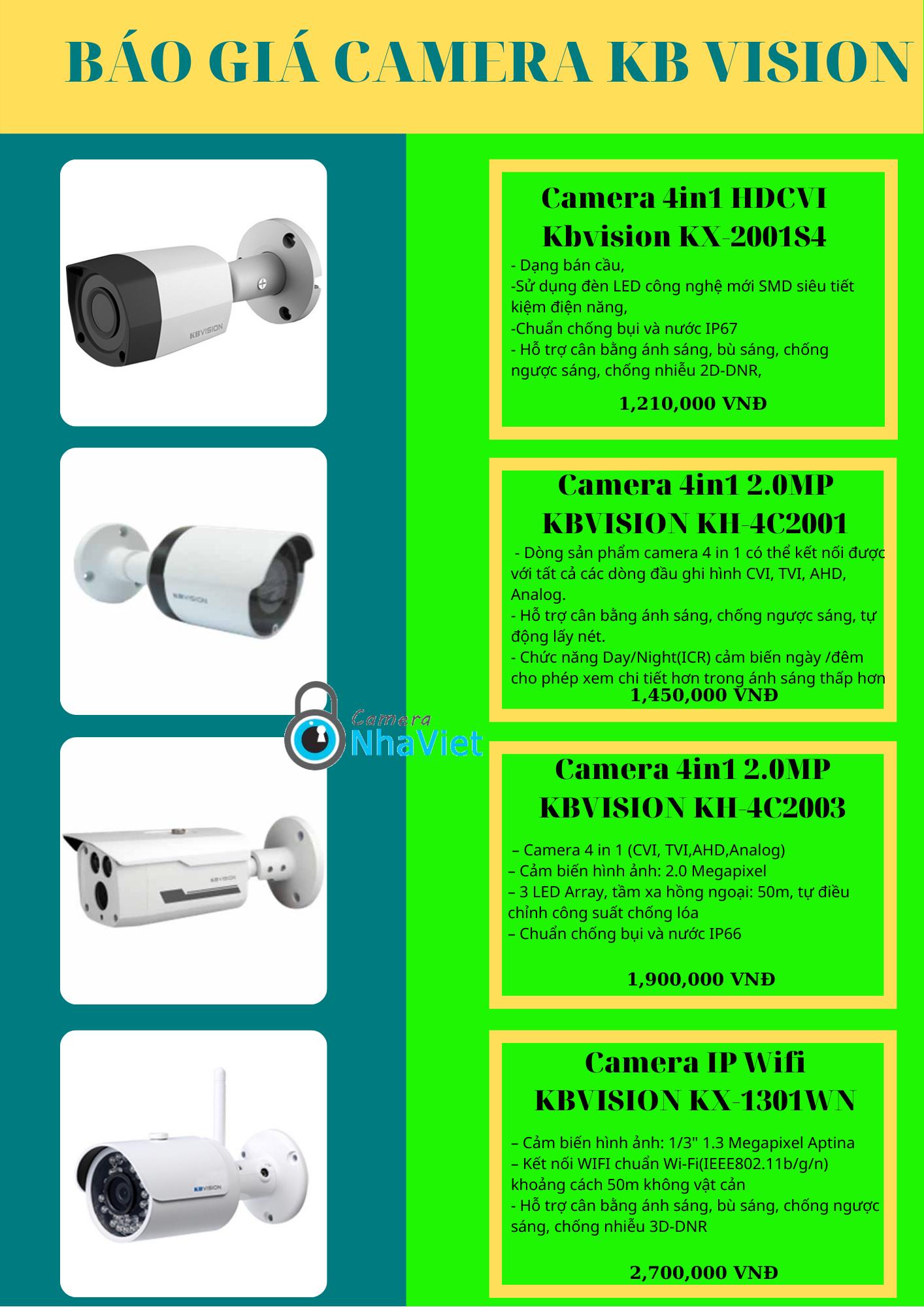 Bảng báo giá Camera giám sát KB Vision