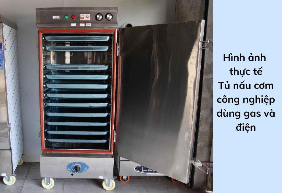 Hình ảnh thực tế tủ nấu cơm công nghiệp gas điện Bavico