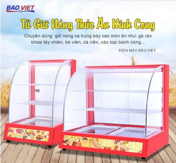 Tủ giữ nóng thức ăn Bảo Việt kính cong