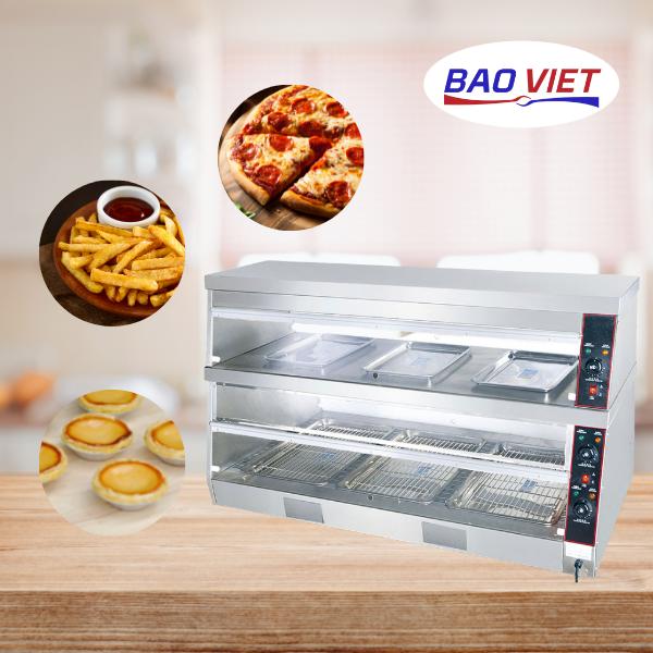 Tủ giữ nhiệt 2 tầng trưng bày được nhiều loại thực phẩm