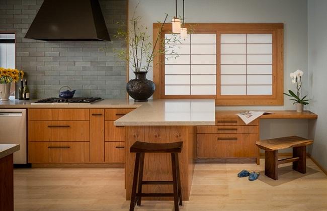 Tủ bếp phong cách Nhật chủ yếu sử dụng vật liệu gỗ và tre