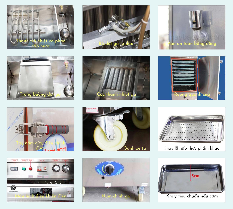 Các bộ phận của tủ nấu cơm công nghiệp Bavico