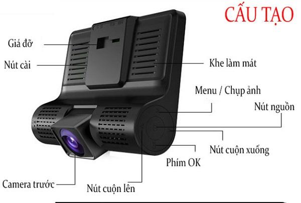 Cấu tạo của một chiếc camera hành trinh ô tô cơ bản.