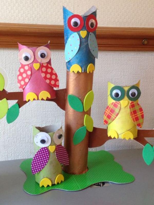 DIY cùng trẻ - làm bầy cú sắc màu đáng yêu