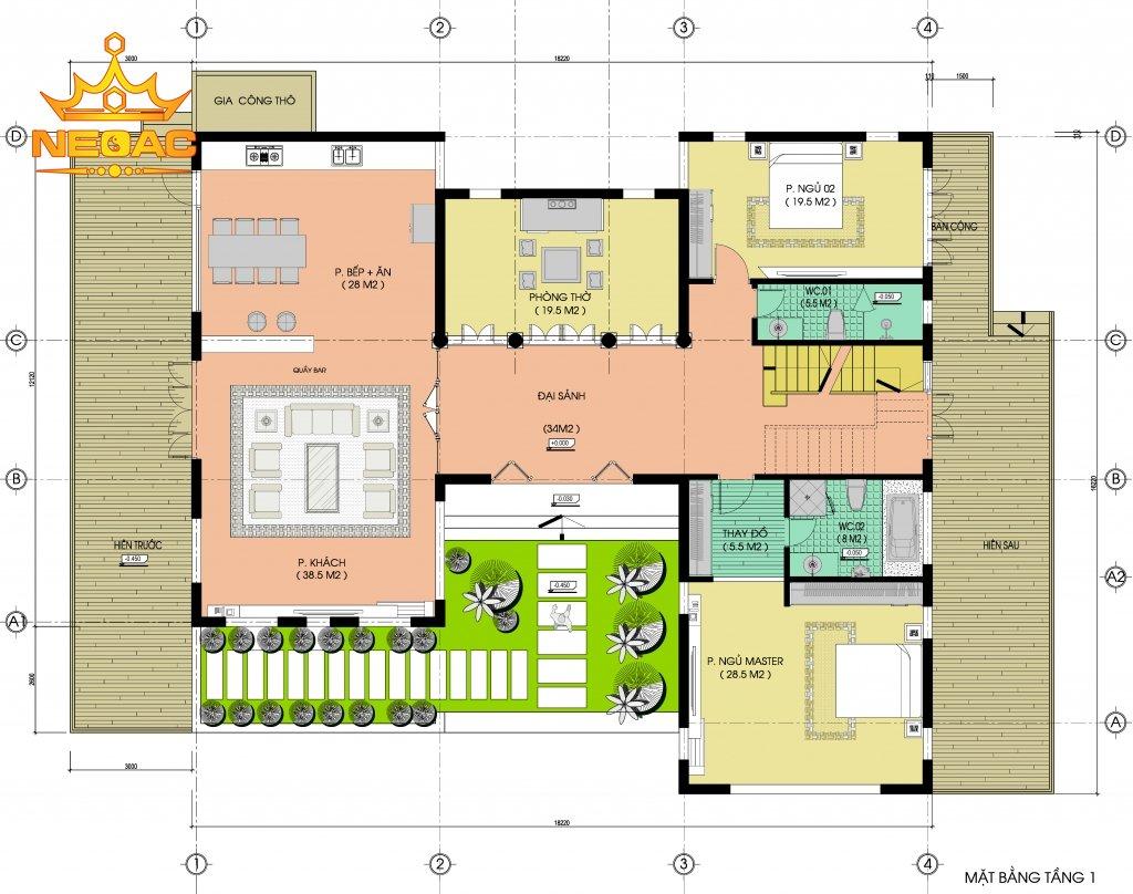 thiết kế kiến trúc biệt thự hiện đại 1 tầng