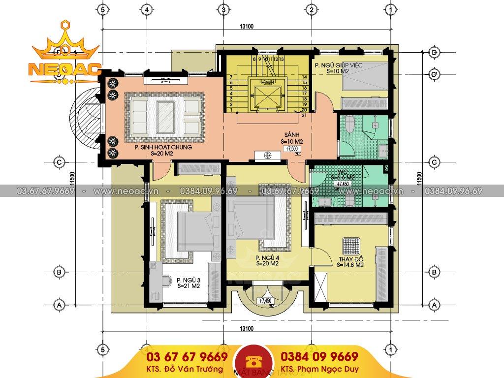 Bản vẽ thiết kế biệt thự 3 tầng tân cổ điển 300m2