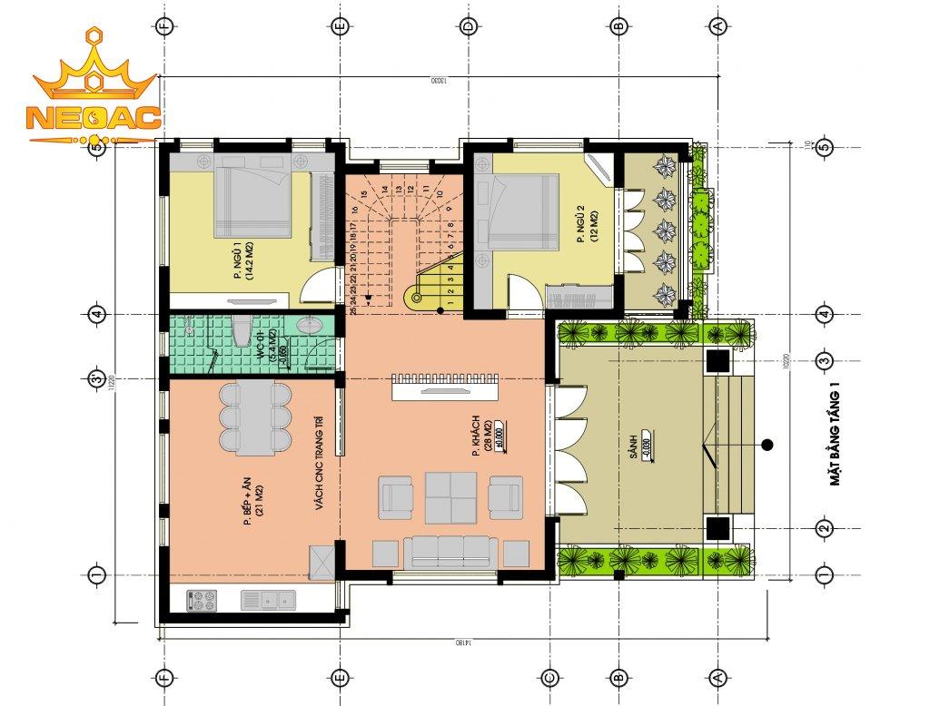 Bản vẽ thiết kế biệt thự mái Thái 140m2