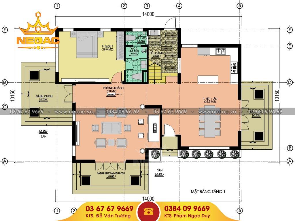 bản vẽ thiết kế biệt thự mái thái 170m2