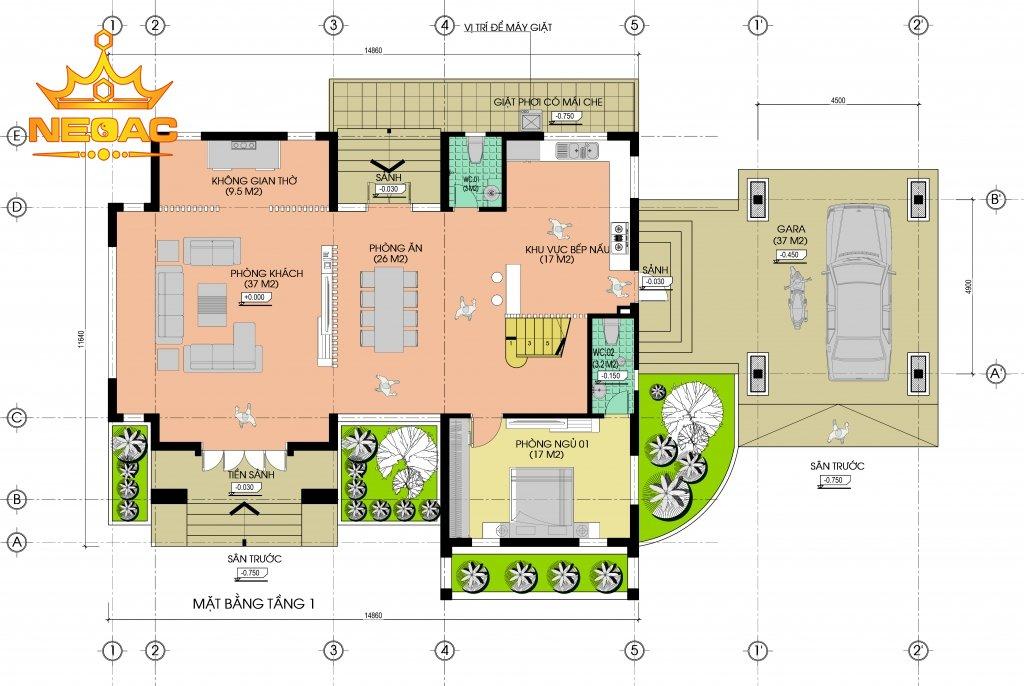 Bản vẽ thiết kế biệt thự mái thái 250m2