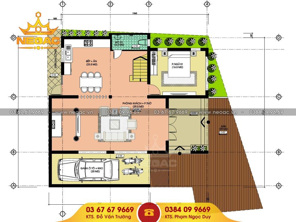 Bản vẽ thiết kế biệt thự mái thái 145m2