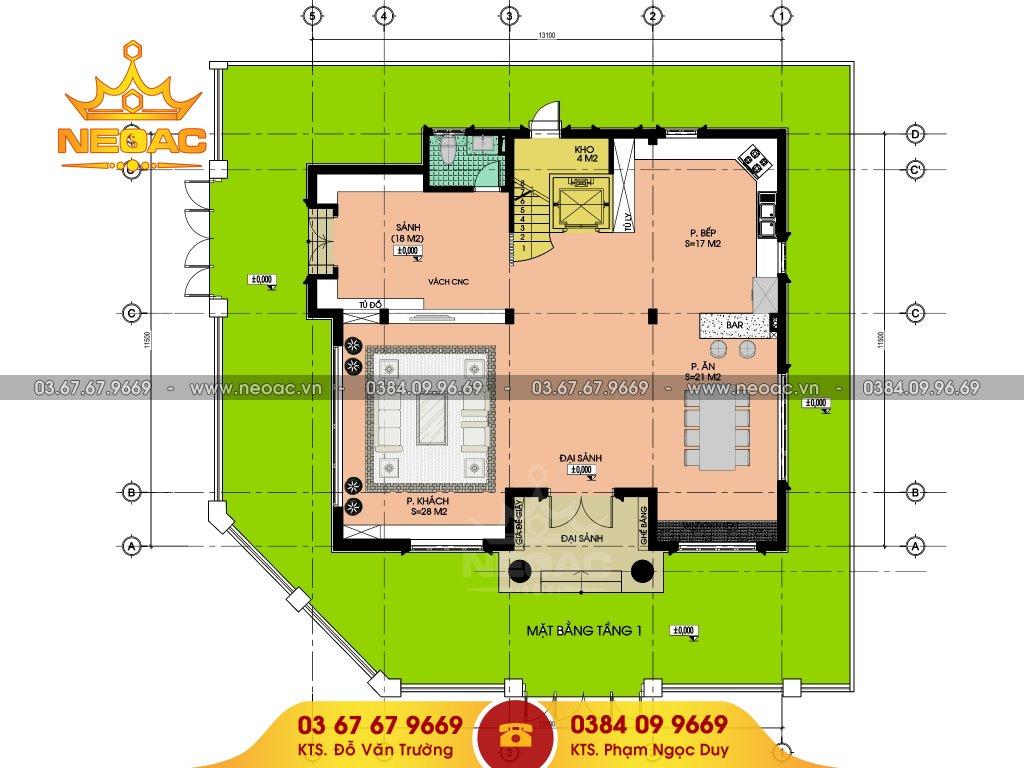 thiết kế mẫu nhà biệt thự phố 3 tầng 95m2