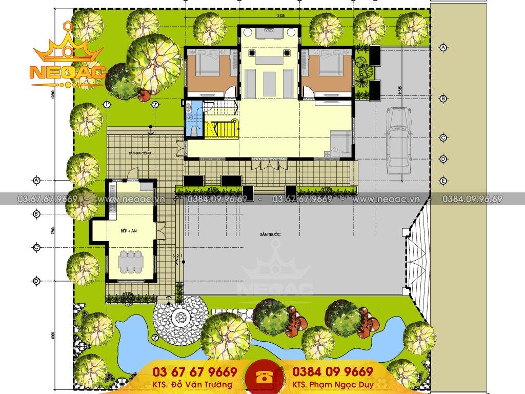 Bản vẻ thiết kế biệt thự 3 tầng tân cổ điển 145m2