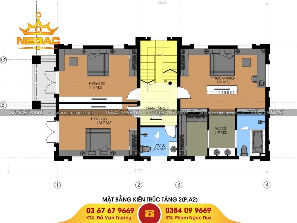 Bản vẽ thiết kế biệt thự 3 tầng tân cổ điển 160m2
