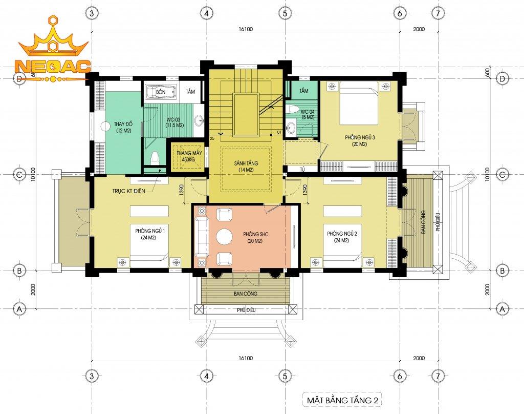 Bản vẽ biệt thự 3 tầng tân cổ điển 195m2