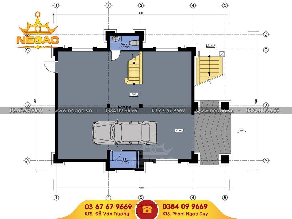 thiết kế biệt thự mái thái 120m2