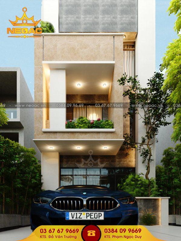 Bản vẽ kiến trúc nhà phố 3 tầng