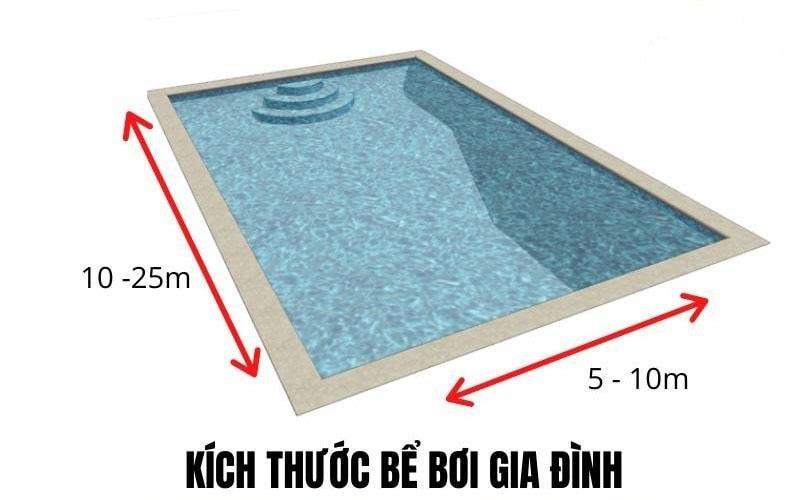 Kích thước tiêu chuẩn cho bể bơi gia đình