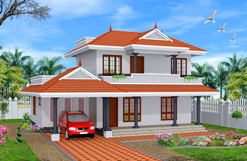 thiết kế biệt thự sân vườn 2 tầng mái Thái