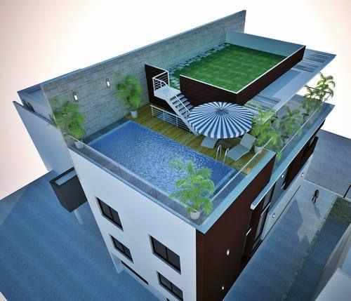 Bể bơi được thiết kế trên sân thượng của biệt thự hiện đại