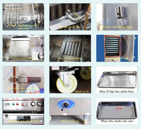 Các thành phần trong tủ nấu cơm công nghiệp