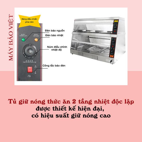 Tủ giữ nóng thức ăn 2 tầng nhiệt độc lập được thiết kế hiện đại, có hiệu suất giữ nóng cao