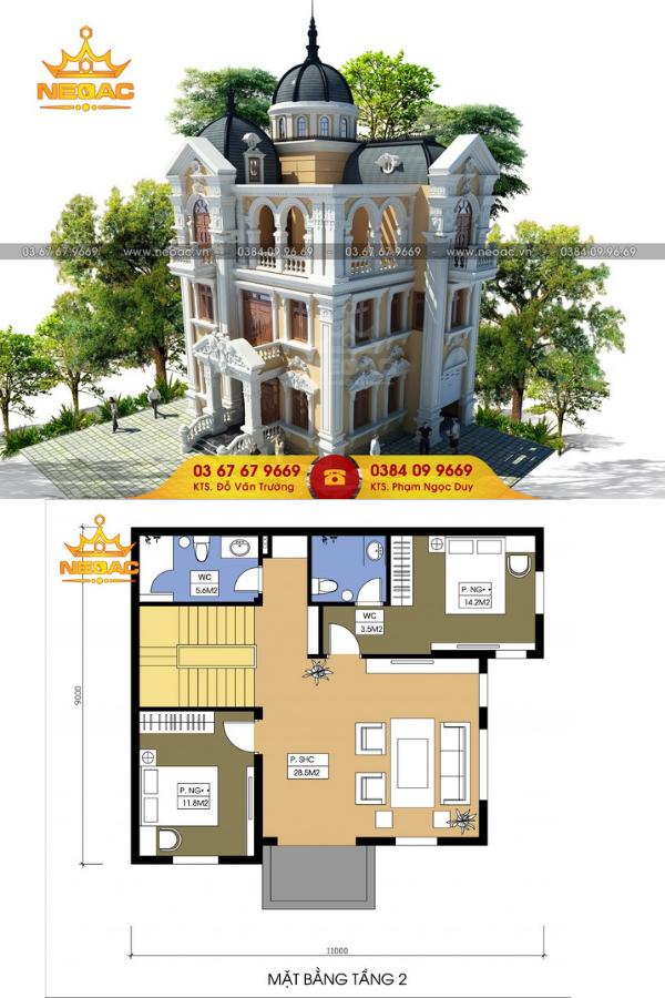 Mẫu thiết kế biệt thự 4 tầng 110m2