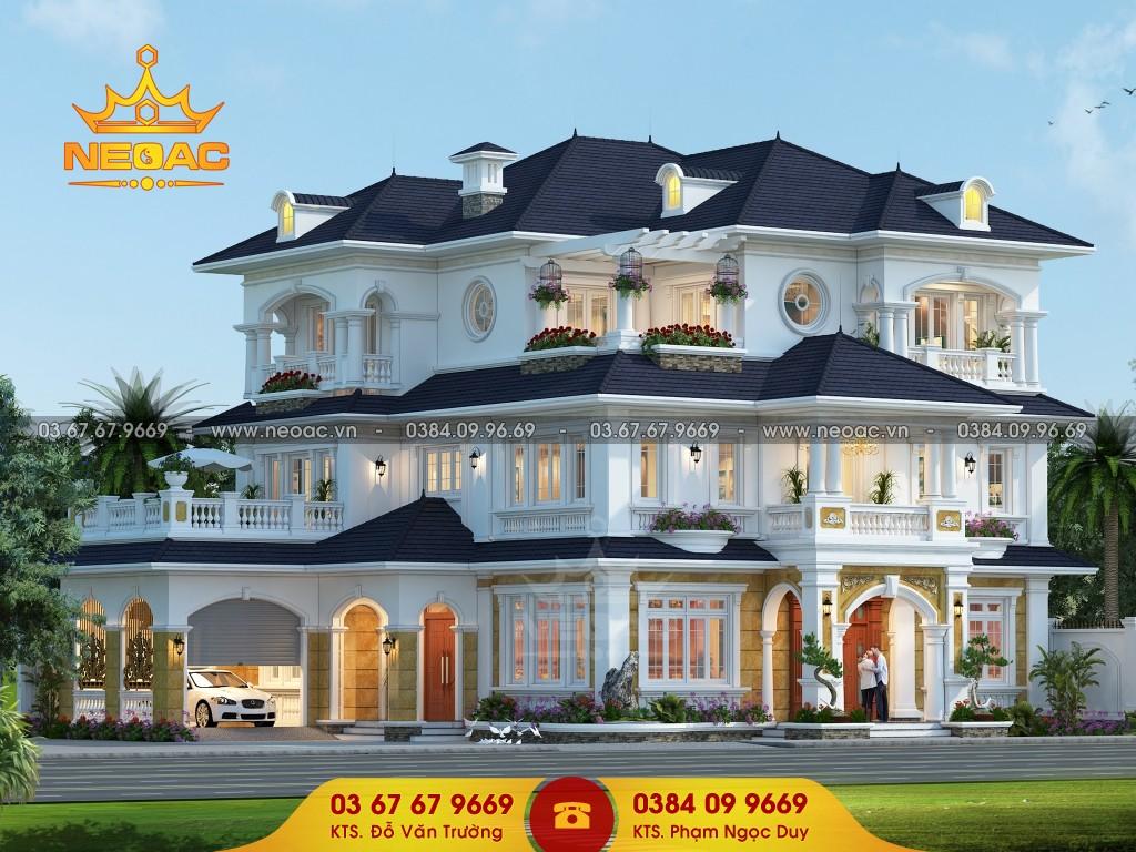 thiết kế biệt thự 3 tầng tân cổ điển mái thái 175m2