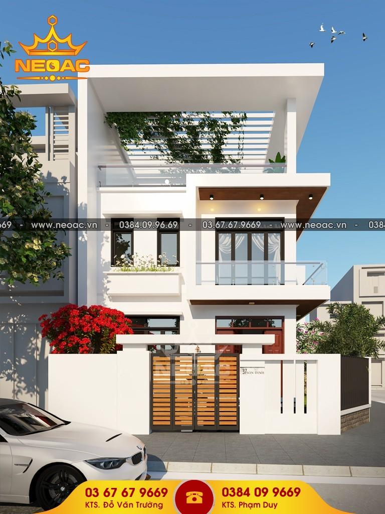 thiết kế nhà phố 2 tầng 1 tum 4 phòng ngủ