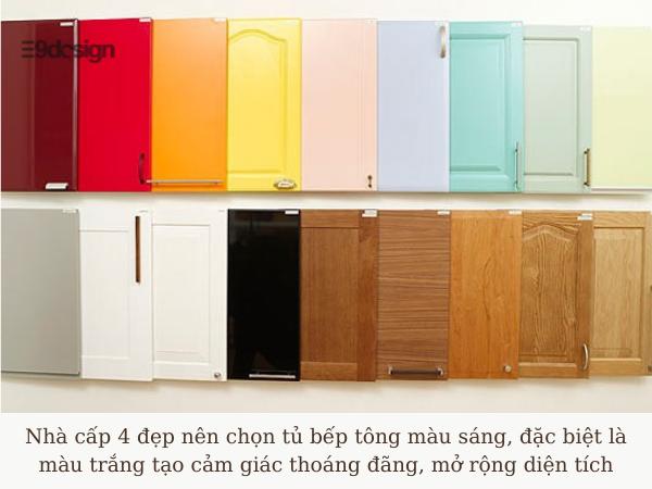 chọn màu tủ thiết kế tủ bếp nhà cấp 4