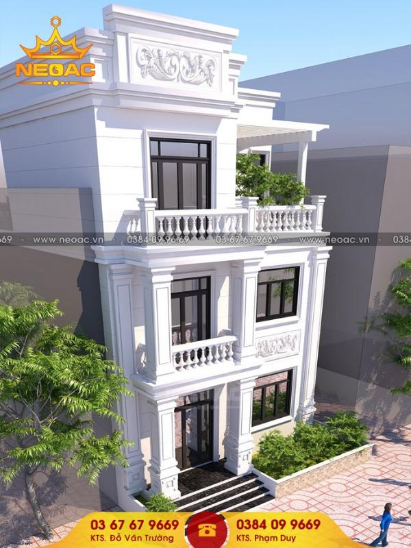 thiết kế nhà phố 2 tầng 1 tum tân cổ điển