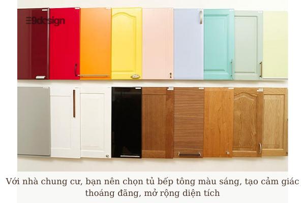thiết kế tủ bếp chung cư sử dụng tông màu sáng