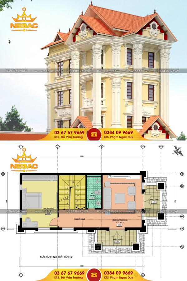 Mẫu thiết kế biệt thự 4 tầng 90m2