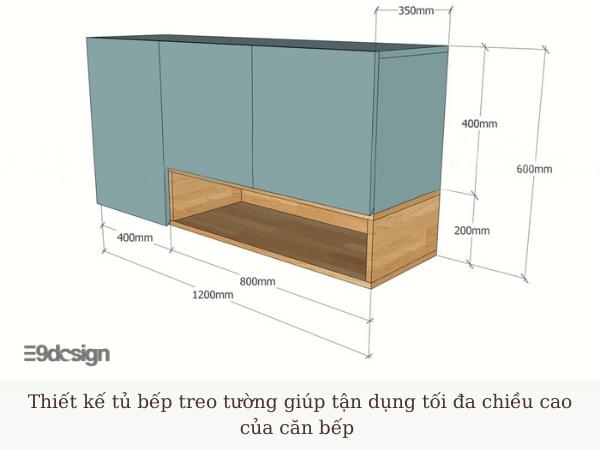 thiết kế tủ bếp treo tường nhà cấp 4 hiện đại