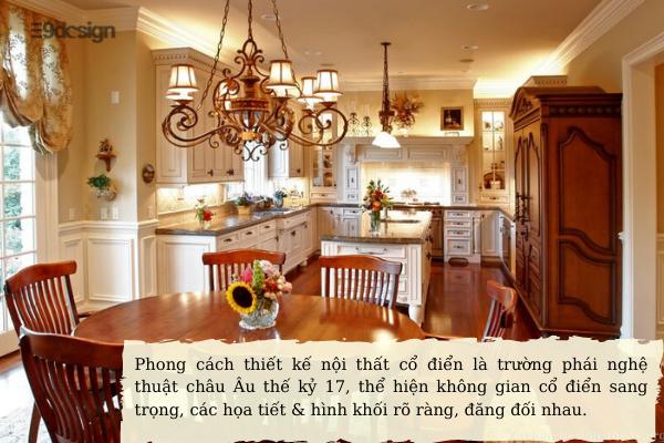 khái niệm phong cách thiết kế nội thất cổ điển