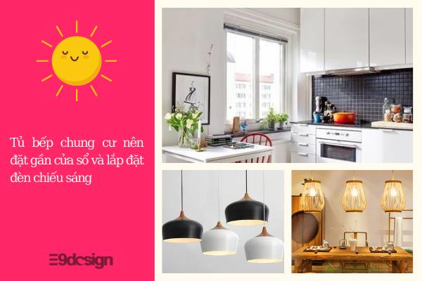 thiết kế tủ bếp chung cư lắp đèn chiếu sáng hoặc thiết kế cửa sổ