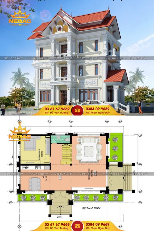 Mẫu thiết kế biệt thự 4 tầng 150m2